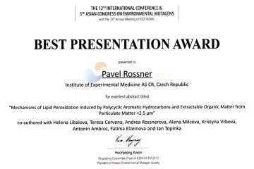 """Best Presentation Award"" at the Worldwide Congress of the Mutagenesis Society"